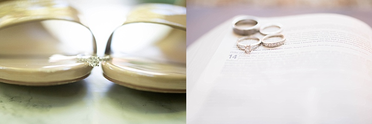 Beautiful shots of the ring on her Steve Martin shoes, and in the groom's bible.