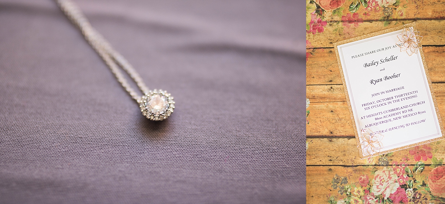 Dimond necklace as a gift from her groom and flower earnings on a wooden backdrop.