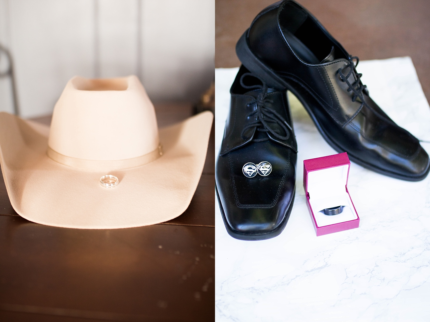 Groom's cowboy hat and James Avery wedding band. Groom's black loafers, black and silver superman cuff links, and black wedding band.