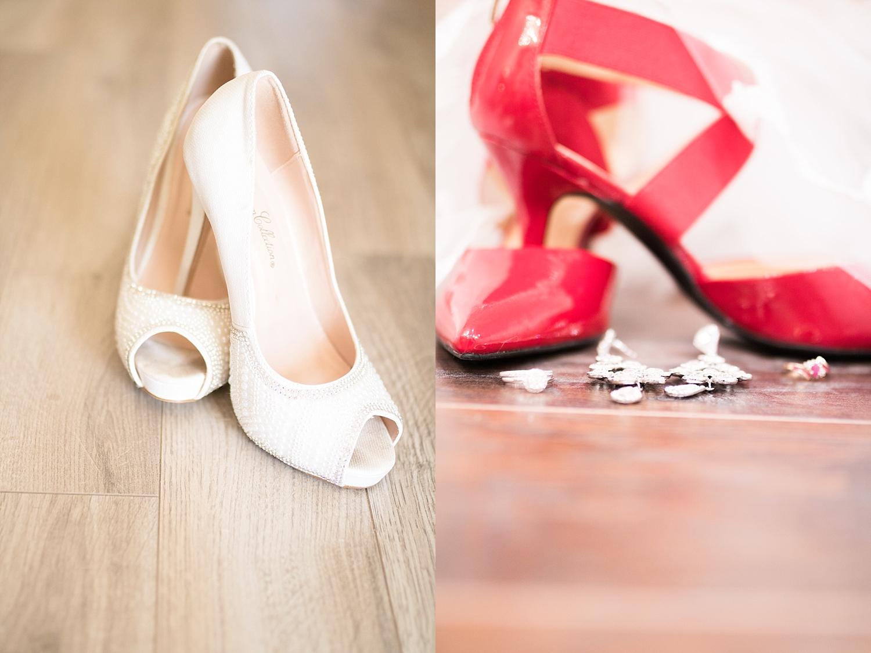White glam heels, and sleek red bandage heels.