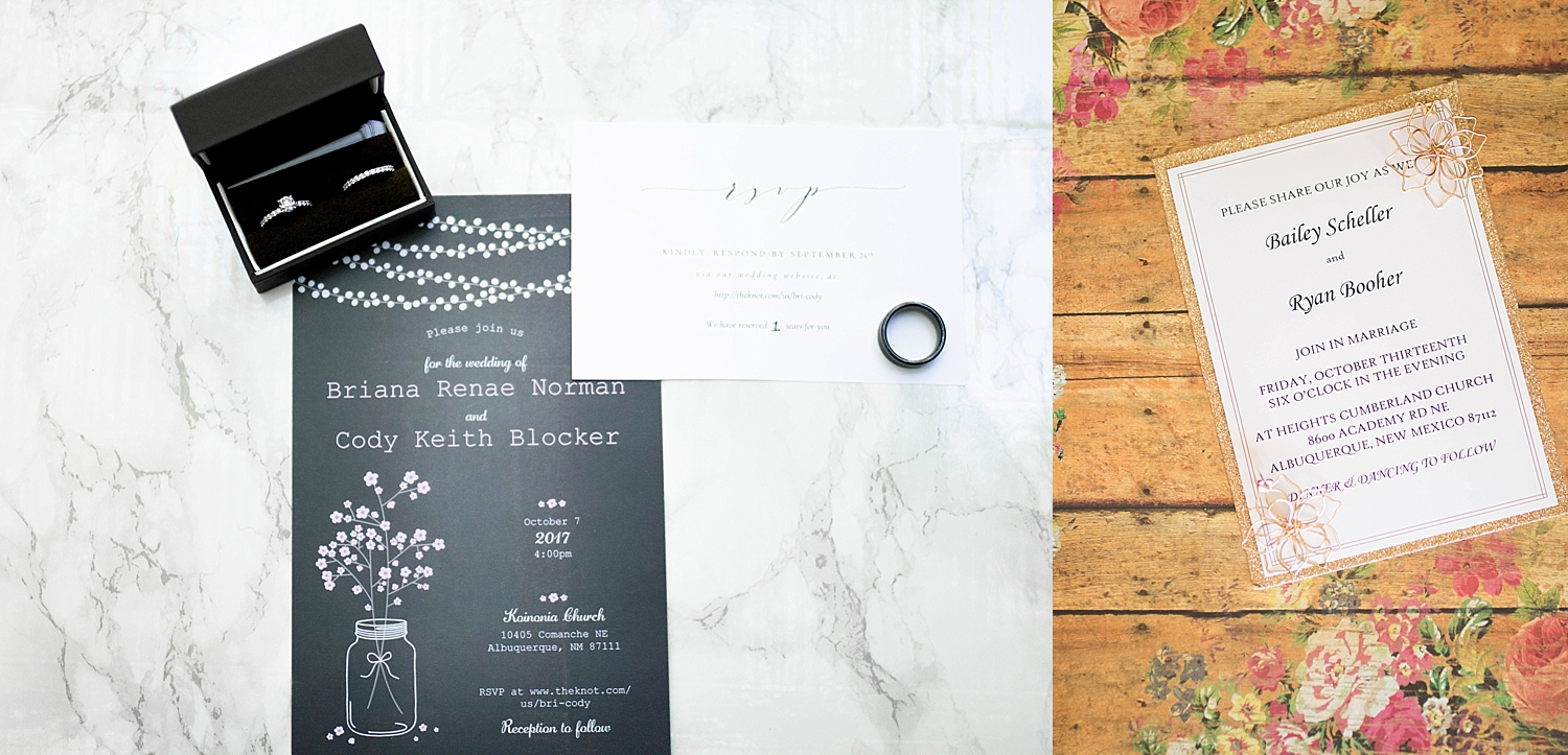 Navy mason jar and twinkle light invitations, and white and gold sparkles invitation.