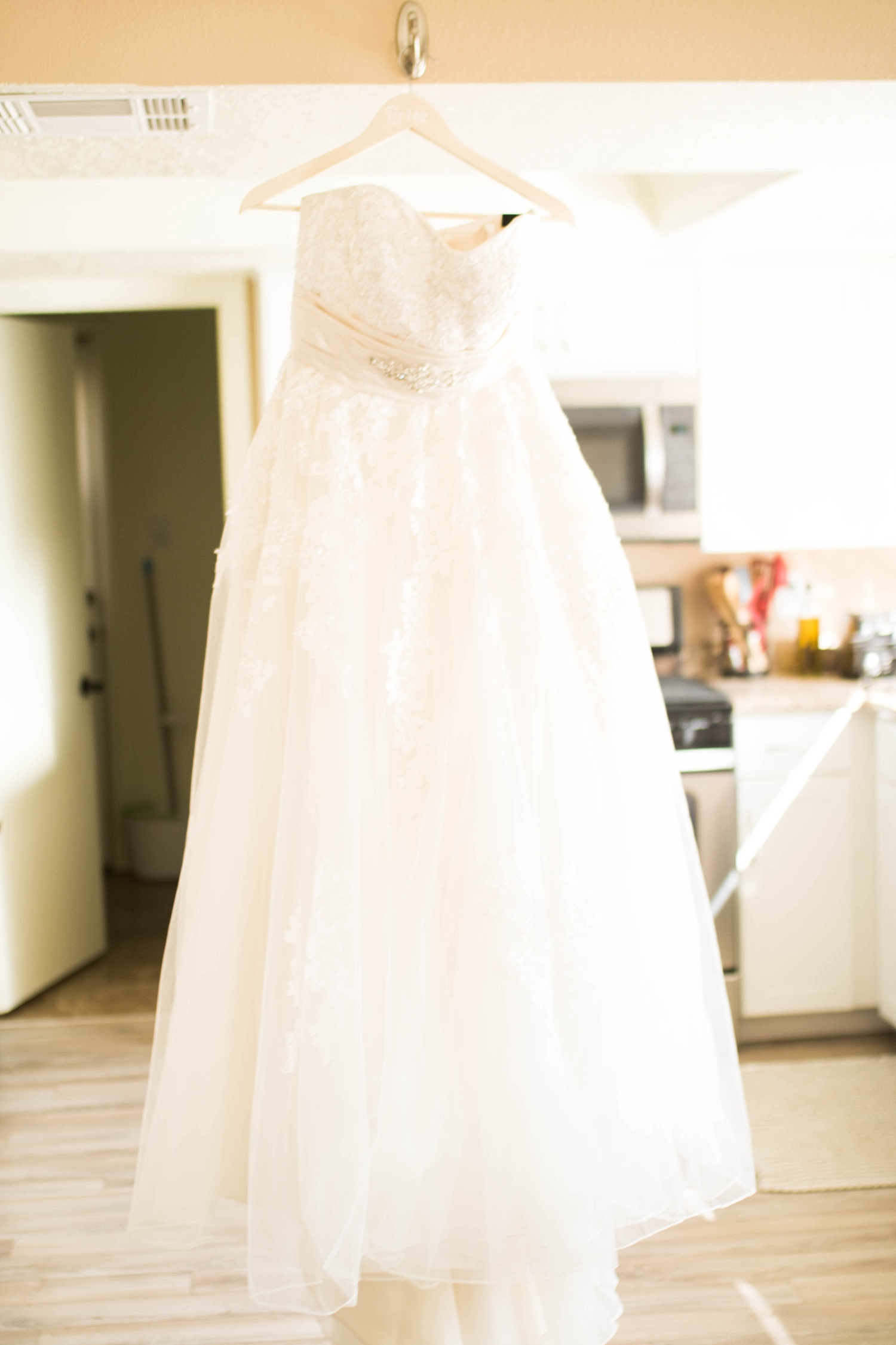 Beautiful strapless lace ball gown.
