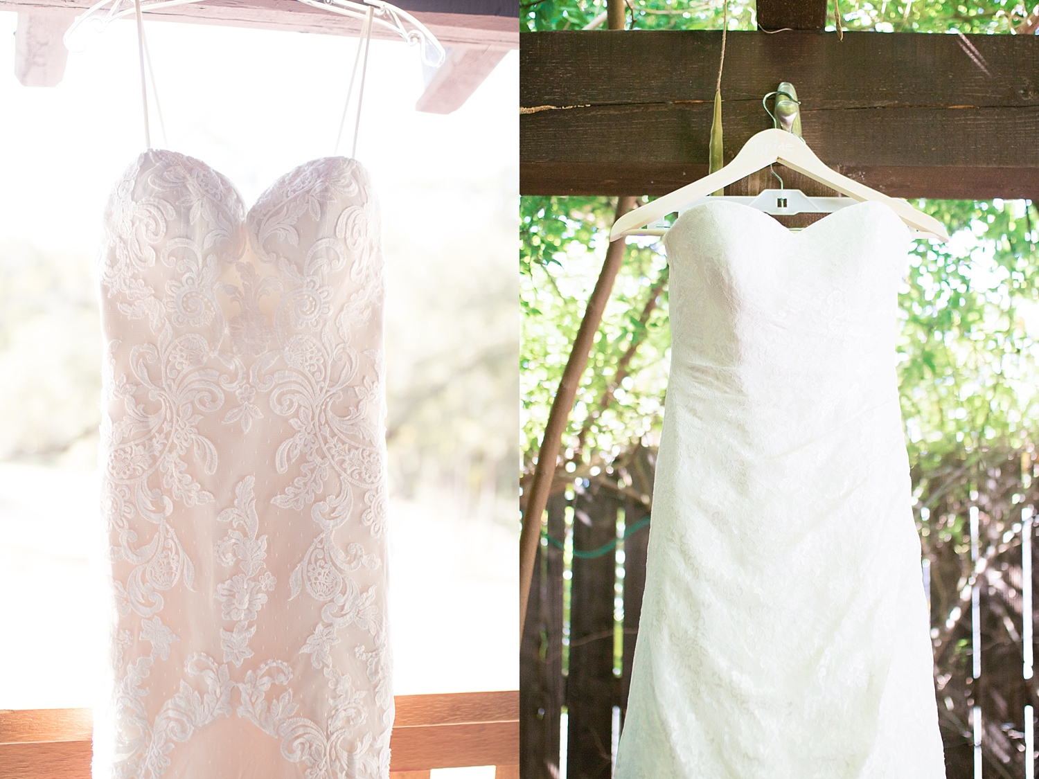 White lace sweet heart neckline and strapless dress, and a stunning custom made cream dress with lace plunging neckline, low back dress.
