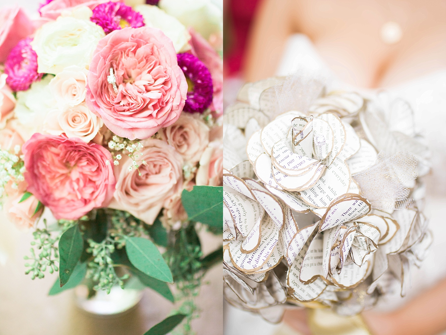 Pink and purple roses and wild flowers with babies breath, and flowers made from book pages.
