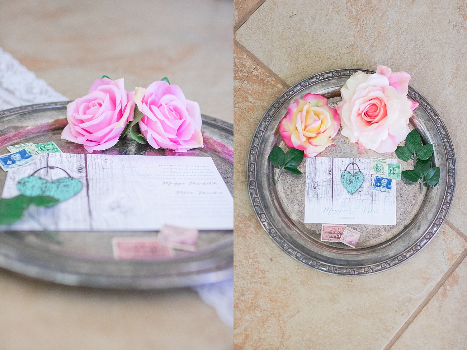 Rustic teal invitations with vintage stamps pink and yellow roses and leaves.