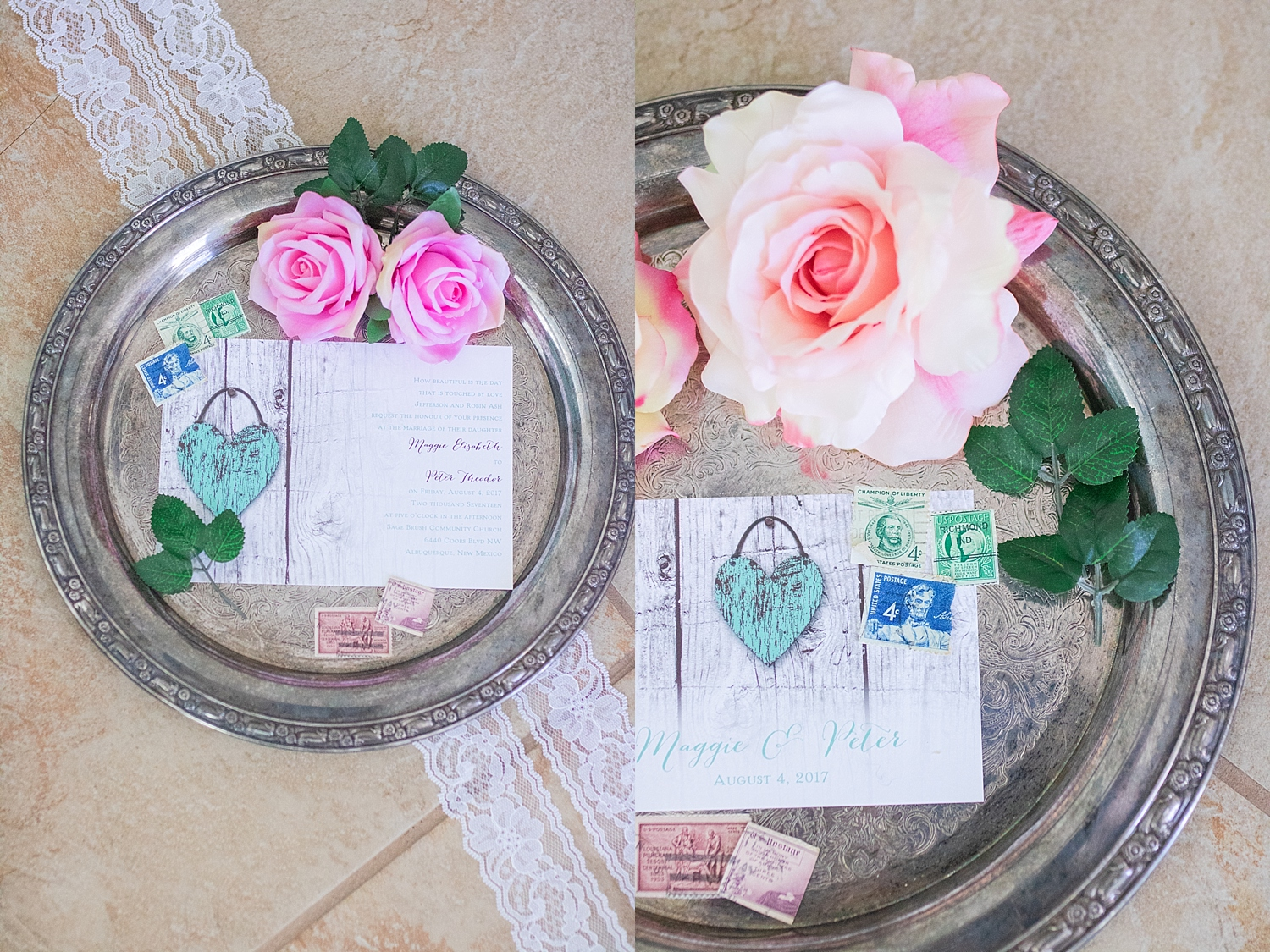 Rustic teal invitations with vintage stamps, silver tray, lace, pink and yellow roses and leaves.