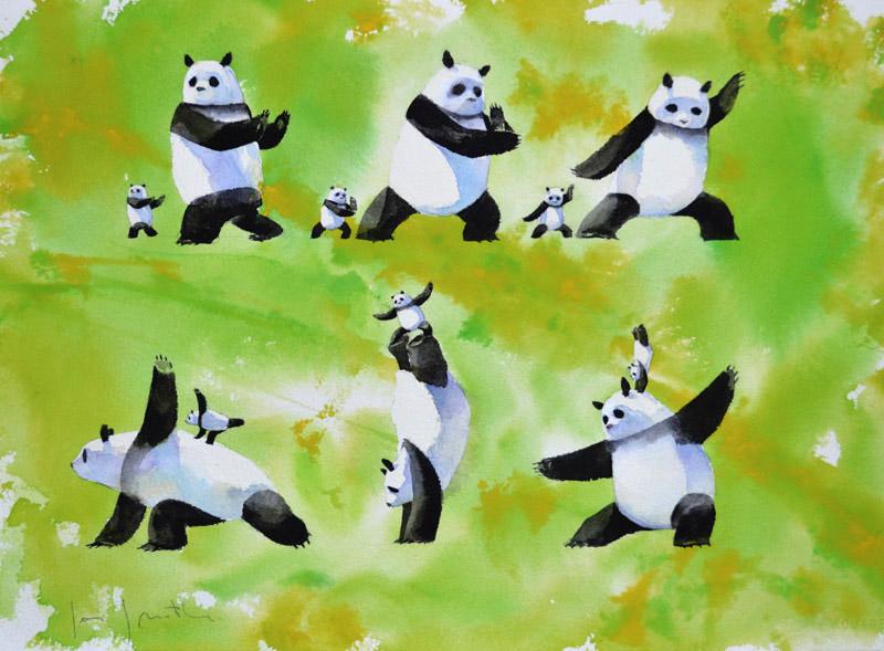 Illustrations of Stillwater the Zan Master Panda, by Jon Muth.
