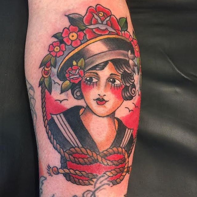 Recent one from Darren Hall!! He had a no show today and has time right now to tattoo ya!!! Grab it before it's gone! #risingtidetattoo #americantraditional #tibetantattoo #bouldertattoo #coloradotattoo #303 #walkintattoo #walkinswelcome #traditionaltattoo