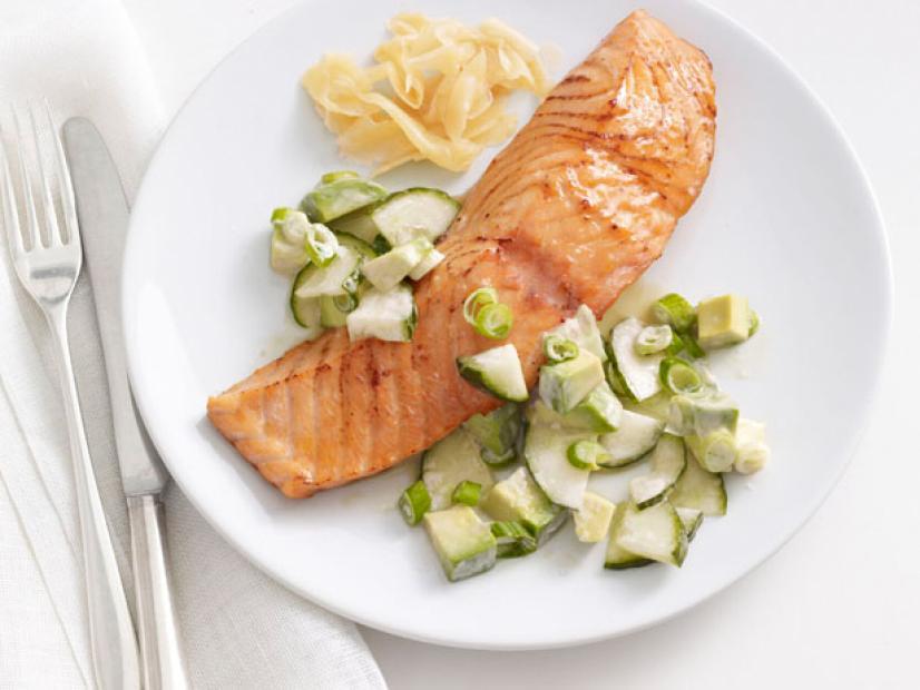 Soy Glazed Salmon with Cucumber Avocado Salad