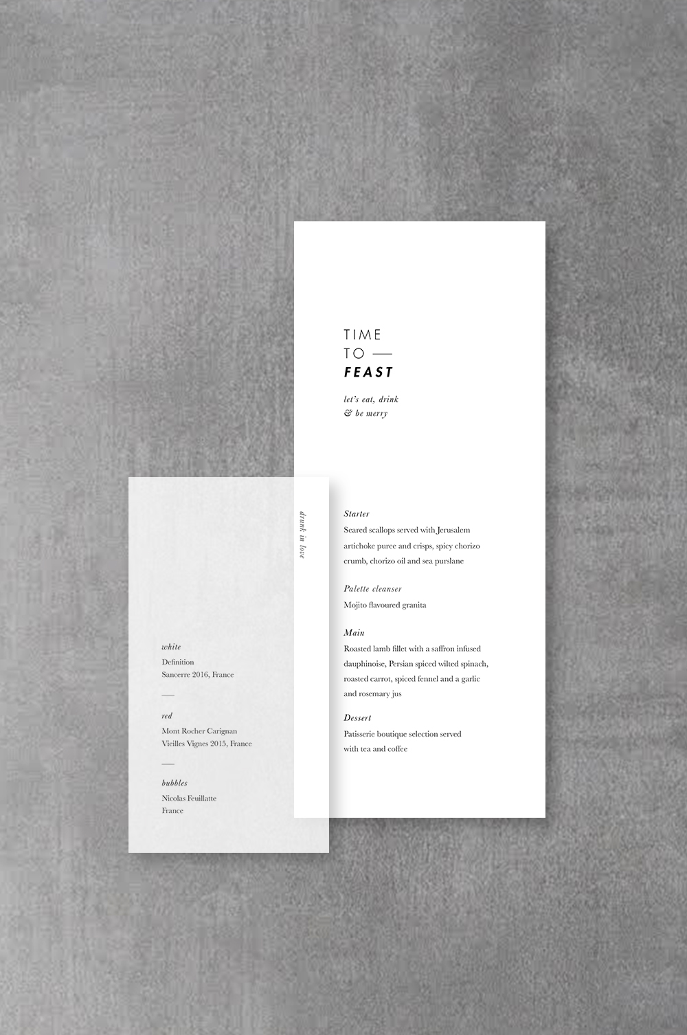 Vellum Wine Menu