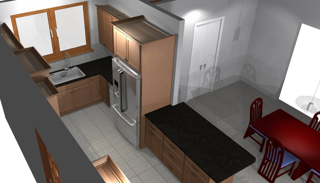 Now the homeowners had the option to create their dining area in the adjacent room, but it will no longer feel detached from the kitchen due to the half wall.