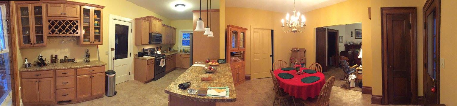 Now the kitchen has plenty of space, and the dining area is no longer separated from the kitchen area by a full wall. This project was completed in time for the Holidays of 2016.
