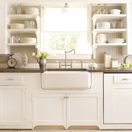 Exposed Shelving in a Farmhouse-style kitchen