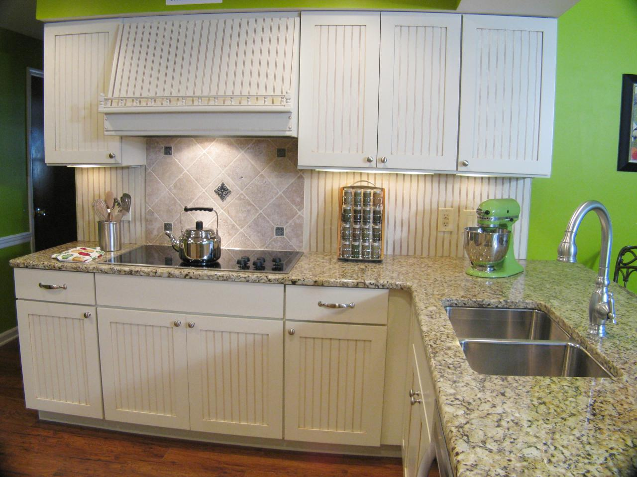 Beadboard Cabinets in a Farmhouse Style Kitchen