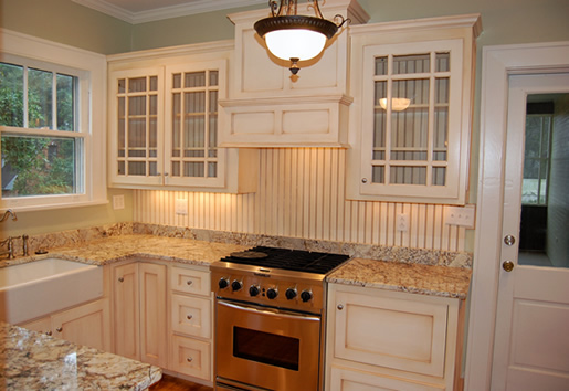 Glass front cabinets and beadboard paneling