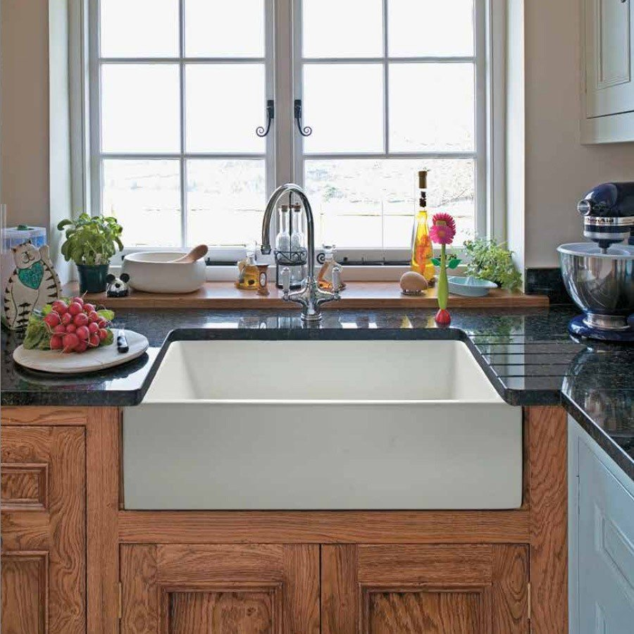 Farmhouse sink in a kitchen