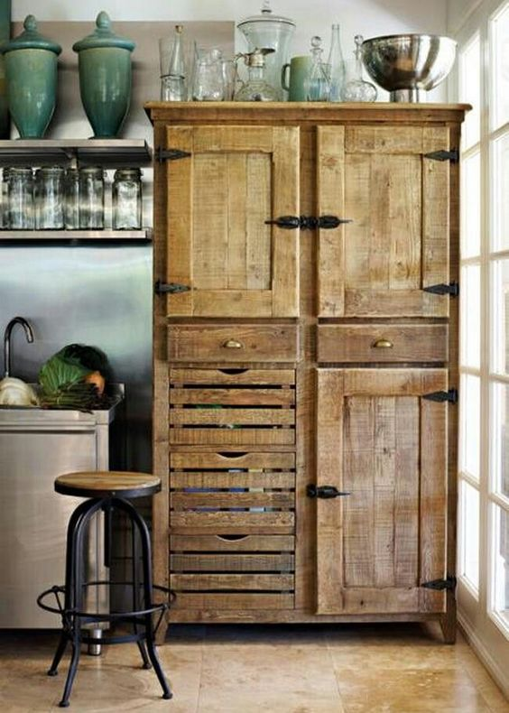 Rustic free-standing cabinet in a farmhouse style kitchen