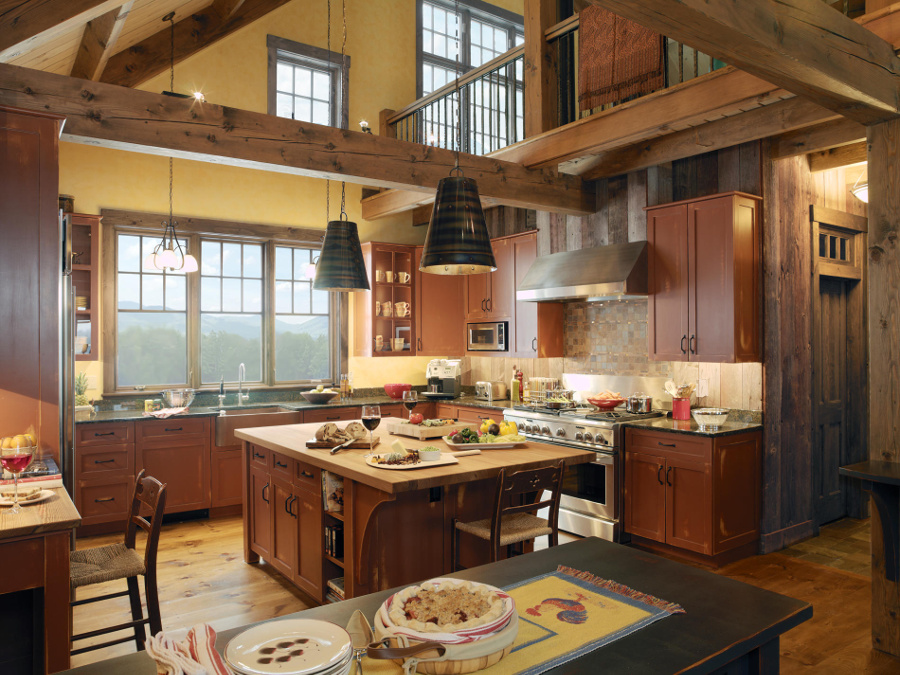 Small island in farmhouse style kitchen