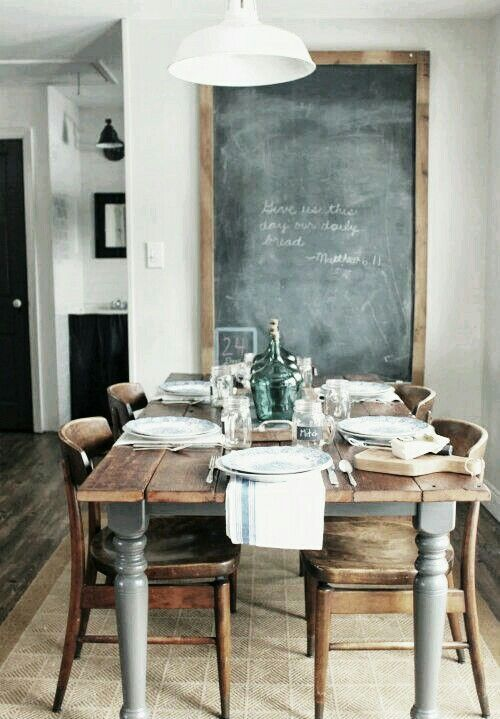Wood table in a farmhouse style kitchen