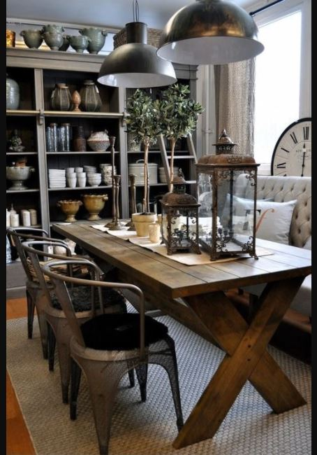 Creative wooden table option in a farmhouse style kitchen