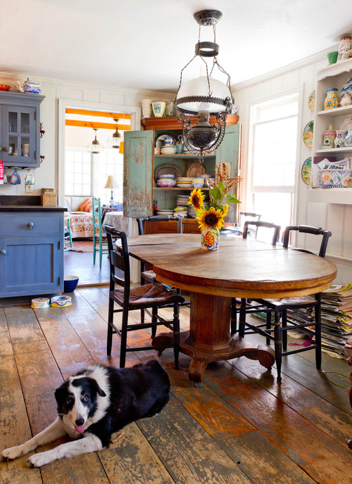 Rustic and worn natural hardwood flooring