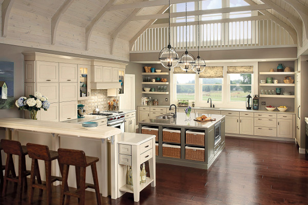 Glass globe lighting in a farmhouse style kitchen