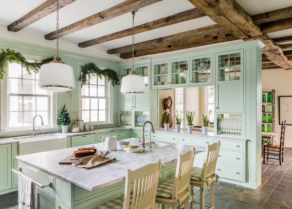 Muted green color in a farmhouse style kitchen