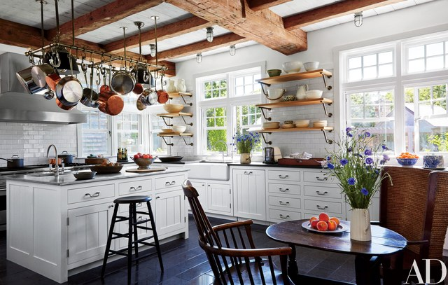 Metal accents in a farmhouse style kitchen