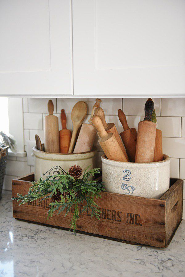 Country-style mason jars in a farmhouse style kitchen