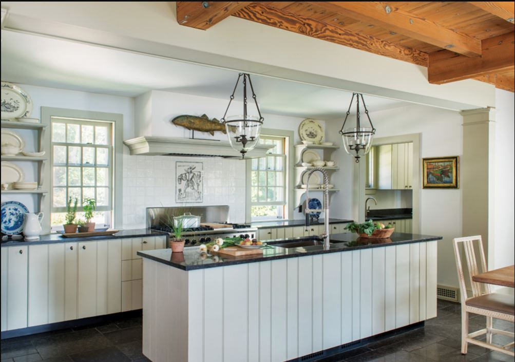 Hanging weathervane in a farmhouse style kitchen