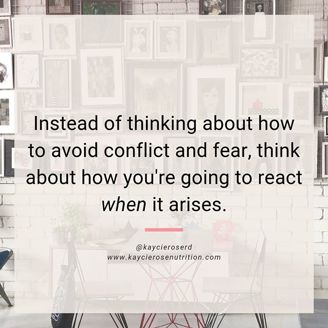 My sister called me this morning as I was processing some anxious feelings. She asked me what I was feeling anxious about, so I shared. The core of the feelings centered around two things: conflict and fear. ⠀⠀⠀⠀⠀⠀⠀⠀⠀ ⠀⠀⠀⠀⠀⠀⠀⠀⠀ These aren't unfamiliar feelings to me and they probably aren't to you either. Conflict and fear are inevitable. They are bound to arise in our ever-changing lives. ⠀⠀⠀⠀⠀⠀⠀⠀⠀ ⠀⠀⠀⠀⠀⠀⠀⠀⠀ My sister offered a very impactful piece of advice during our conversation together:⠀⠀⠀⠀⠀⠀⠀⠀⠀ ⠀⠀⠀⠀⠀⠀⠀⠀⠀ Instead of thinking about how to avoid conflict and fear, think about and prepare for how you're going to react *when* it arises. ⠀⠀⠀⠀⠀⠀⠀⠀⠀ ⠀⠀⠀⠀⠀⠀⠀⠀⠀ All of a sudden it clicked. I don't know if it's because I heard it before from my lovely colleague and supervisor, Fiona Sutherland (@themindfuldietitian), or if it's because I help the lovely humans who step into my office prepare for conflict and fear daily. (Probably both!)⠀⠀⠀⠀⠀⠀⠀⠀⠀ ⠀⠀⠀⠀⠀⠀⠀⠀⠀ It's impossible to avoid the inevitable, but it IS possible to bolster yourself so you feel supported when it happens. And, although it won't make those feelings of fear and conflict disappear, it most likely will decrease their power and the anxiety that follows.⠀⠀⠀⠀⠀⠀⠀⠀⠀ ⠀⠀⠀⠀⠀⠀⠀⠀⠀ As you incorporate peace into your relationship with food and your body, what fears and conflicts might arise? How can you prepare for your reaction to these fears and conflicts?⠀⠀⠀⠀⠀⠀⠀⠀⠀ *⠀⠀⠀⠀⠀⠀⠀⠀⠀ *⠀⠀⠀⠀⠀⠀⠀⠀⠀ *⠀⠀⠀⠀⠀⠀⠀⠀⠀ * ⠀⠀⠀⠀⠀⠀⠀⠀⠀ #nondietdietitian #eatingdisorderdietitian #weightinclusive #inclusivehealthcare #dietculture #antidiet #nondiet #mindfuleating #intuitiveeating #allbodiesaregoodbodies #bodypositive #bodykindness #bodyimage #bodyacceptance #bodypositivity #bodyliberation #bodytrust #bopo #recovery #eatingdisorderrecovery #edrecovery #healthateverysize #HAES #selfcare #selfcompassion #selftrust #selflove #mentalhealth #KaycieRoseNutrition
