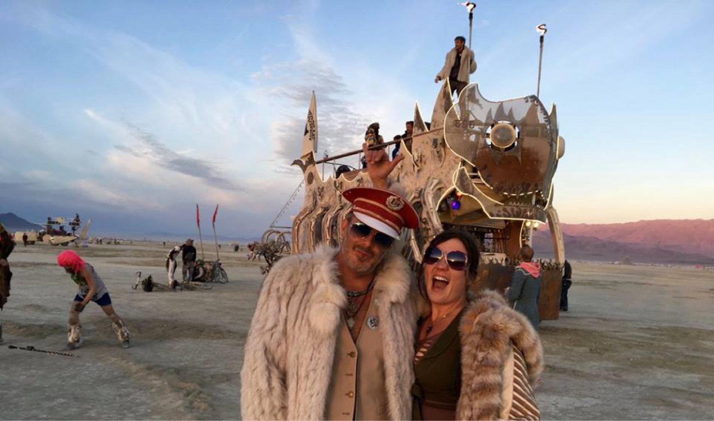 """K.C. and Brook at Burning Man with """"Bonerpillar"""" © 2016"""