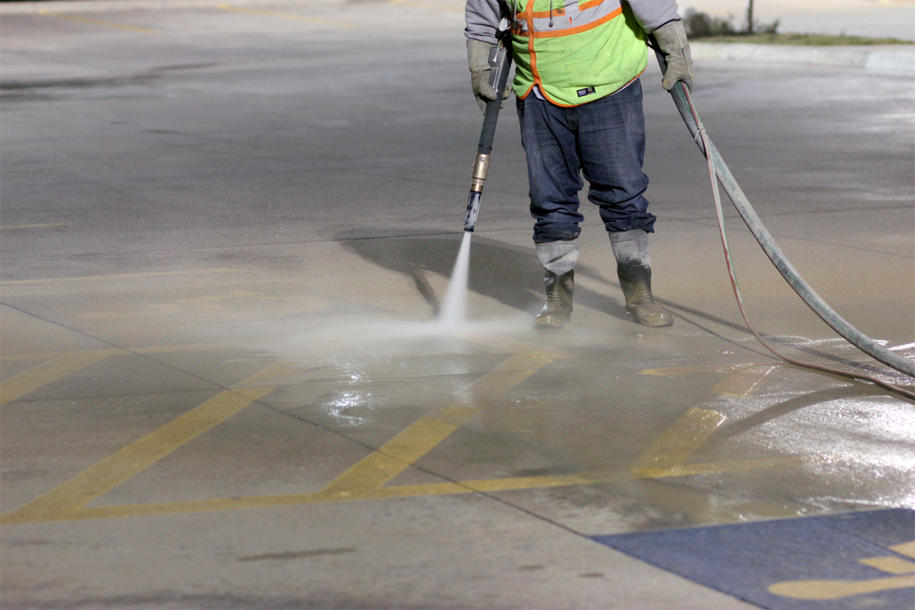 commercial - Sandblasting and Dustless Blasting - Line stripe removal, and serface prepearation