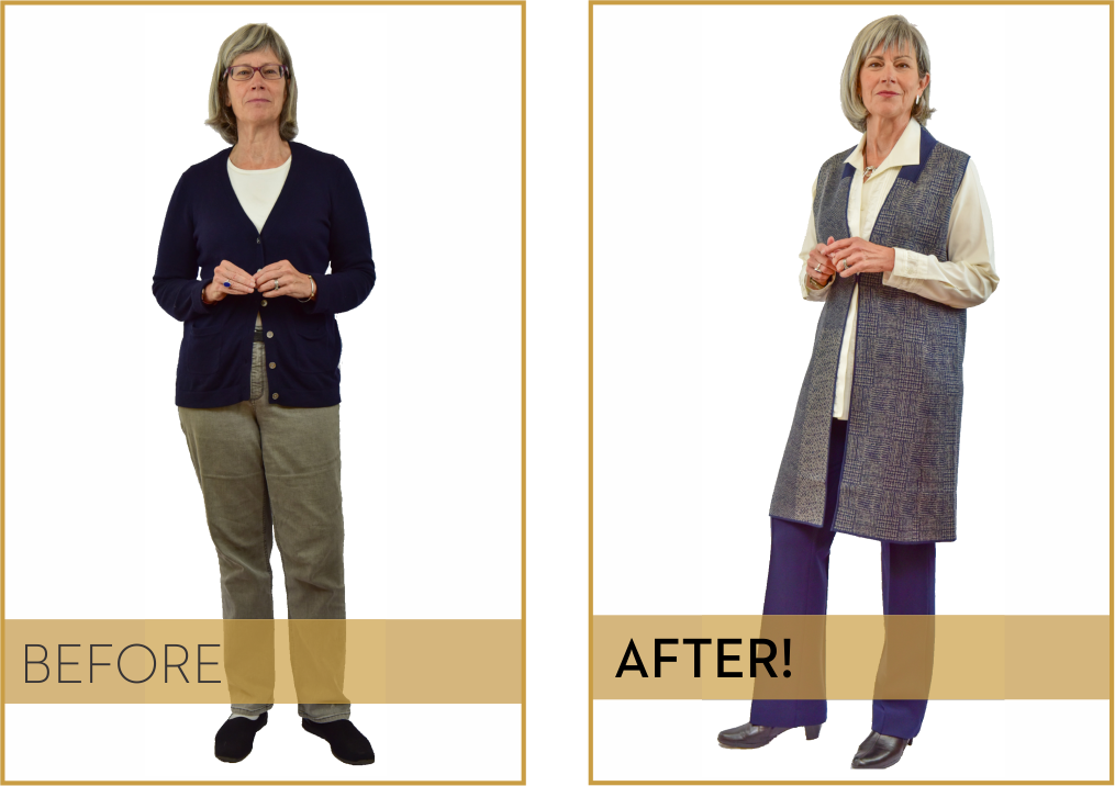 """Meet Client Liz Mirante - """"With Marion's coaching, I now feel my professional wardrobe feels like me and projects what I want to project. She has led me to some wonderful clothing lines that complement my 62-year-old-pear-shape physique, affirming me all the way, and supporting me to get out of my comfort zone where appropriate.Marion really listened to me to understand what I want, and what I was ready for. She is highly skilled and respectful. Anyone who works with Marion will feel better about themselves!!""""—Liz Mirante, Minister"""