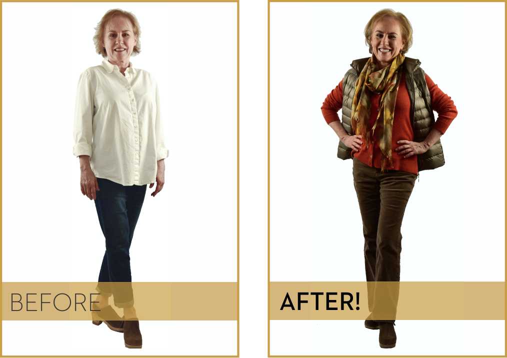 """MEET CLIENT CAROL YOUNG - """"Marion helped me feel so much more satisfied with the way I look and dress, she has given me many unexpected 'pearls,' and she has brought so much FUN to the process!She helped me develop a 'style recipe' which has become my Holy Grail. Without it, I never really understood what to buy that would ultimately make me happy in my own clothes.""""—Carol Young, Entrepreneur and Small Business Owner"""