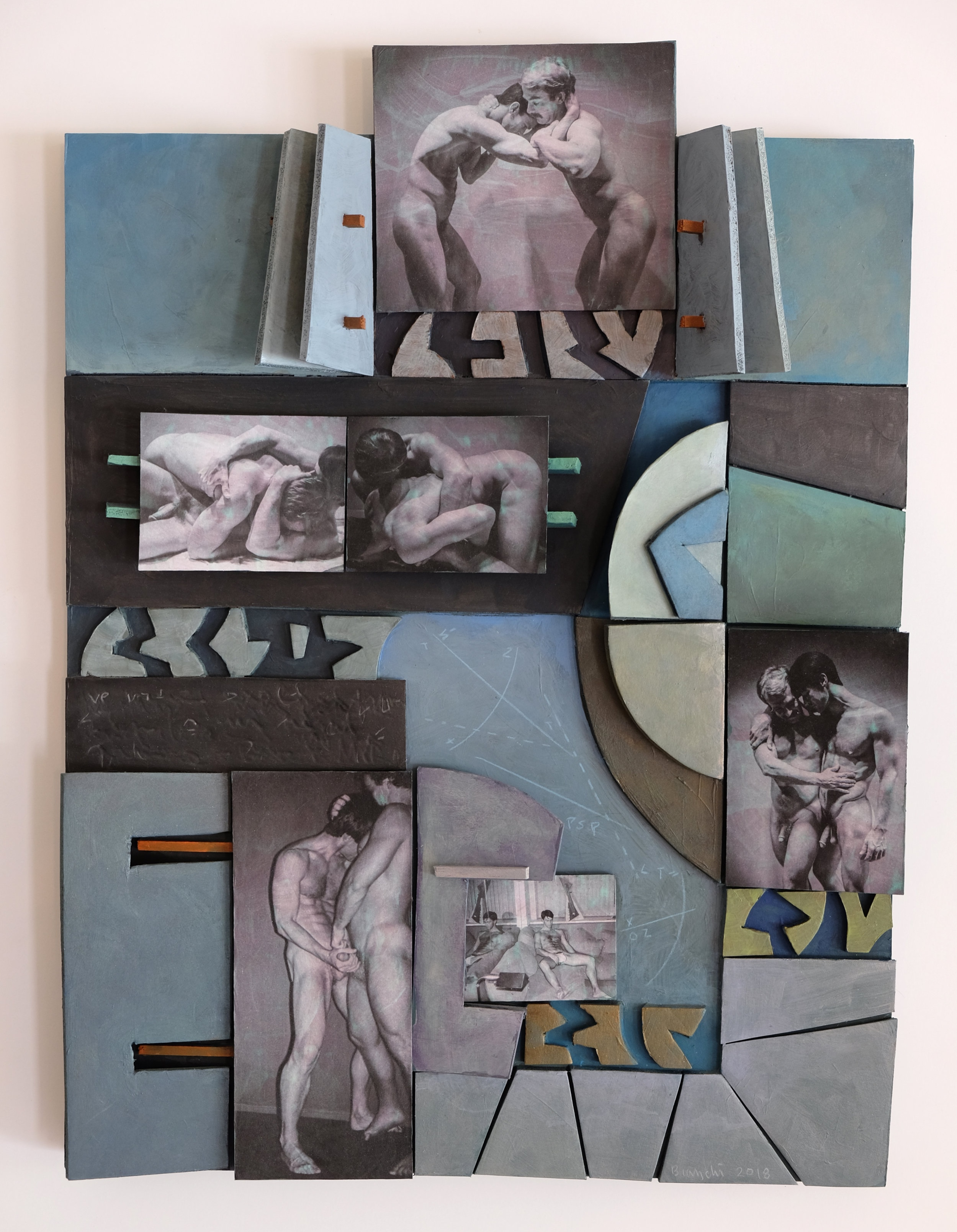 Bob and Mike 1 , 2018 63 E 9th Street Tablets Canvas, museum board, wood, paper, acrylics, metallic paint, ink jet photographs 21.5 x 16 x 3.25 in (54.6 x 40.6 x 8.3 cm)