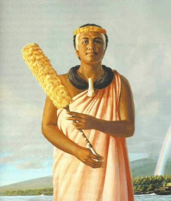 Maui's own beloved queen kaahumanu holding her kahili proudly.  painting by her kane
