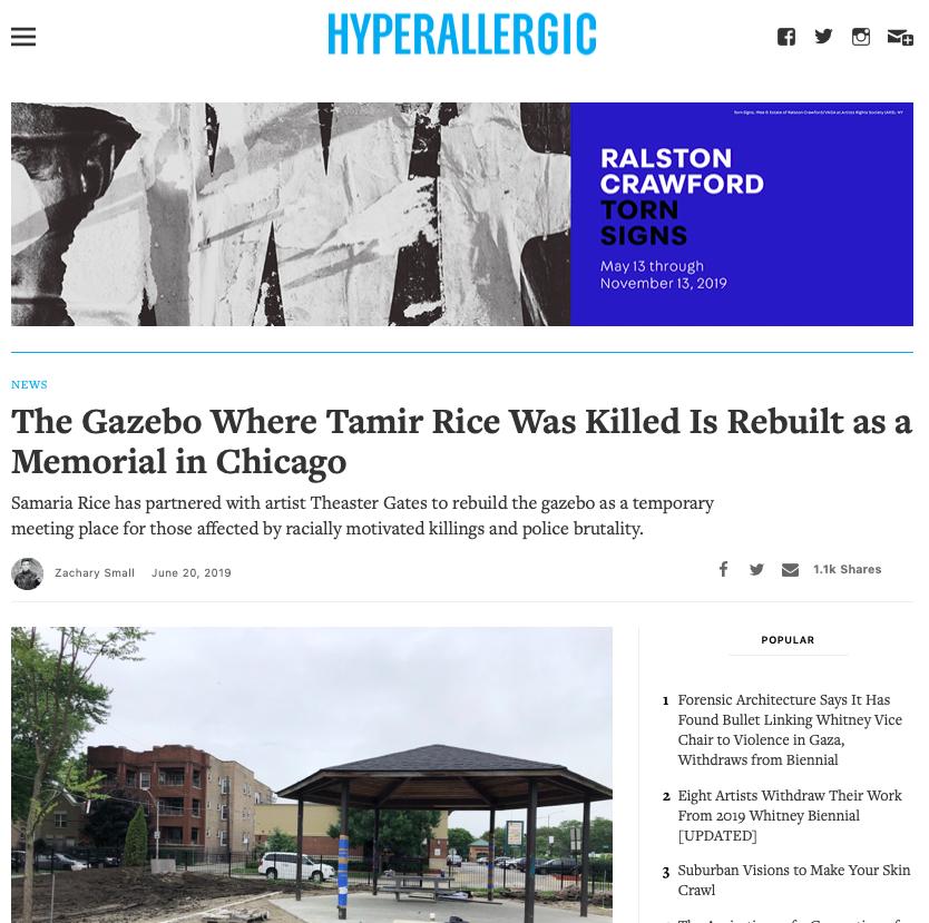tamir-rice-gazebo-chicago-hyperallergic-ximena-larkin-zachary-smalls-rebuild-foundation-publicist