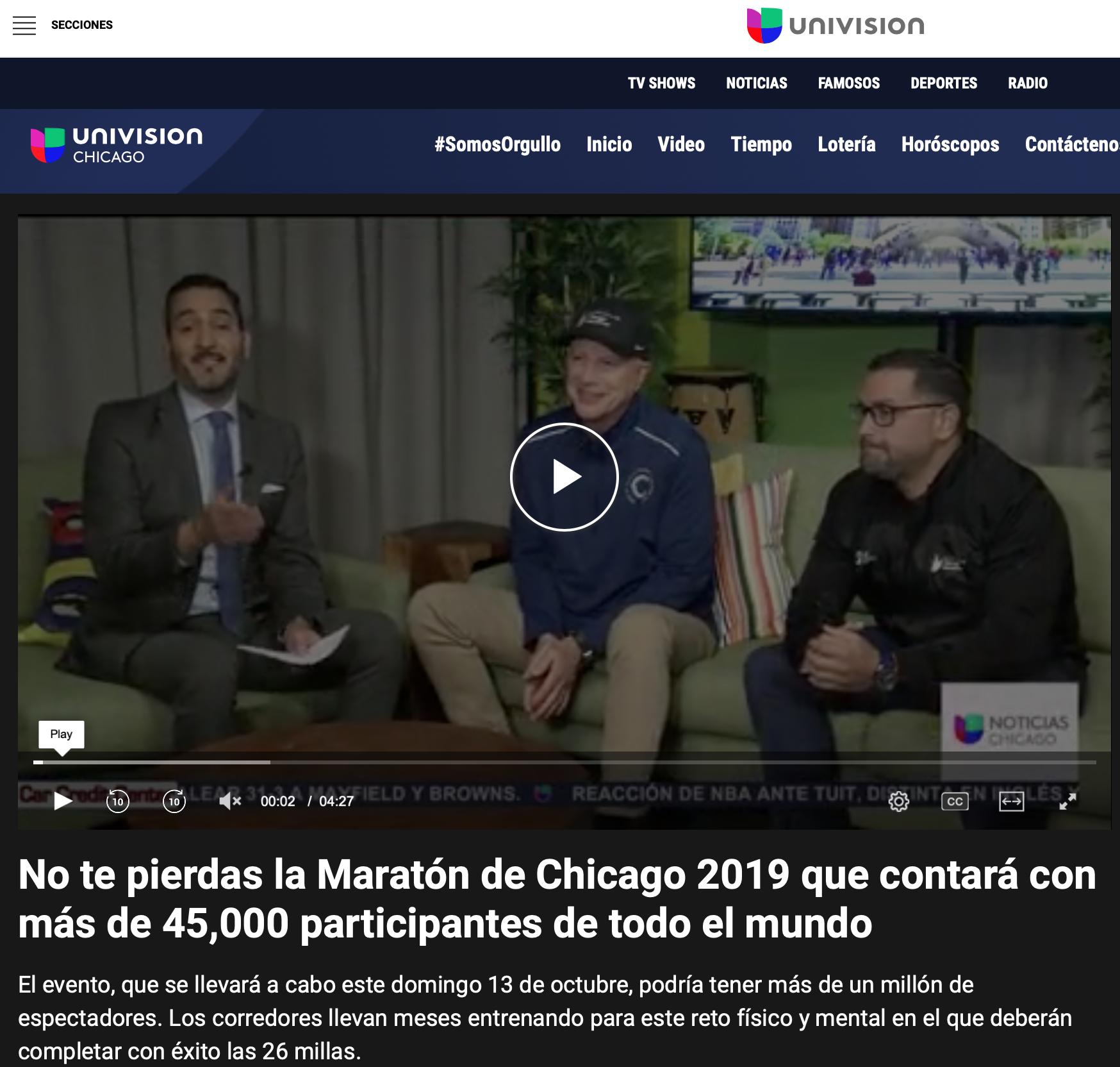 Bank-of-america-chicago-marathon-2019-carey-pinkowski-univision-chicago-Ximena-larkin