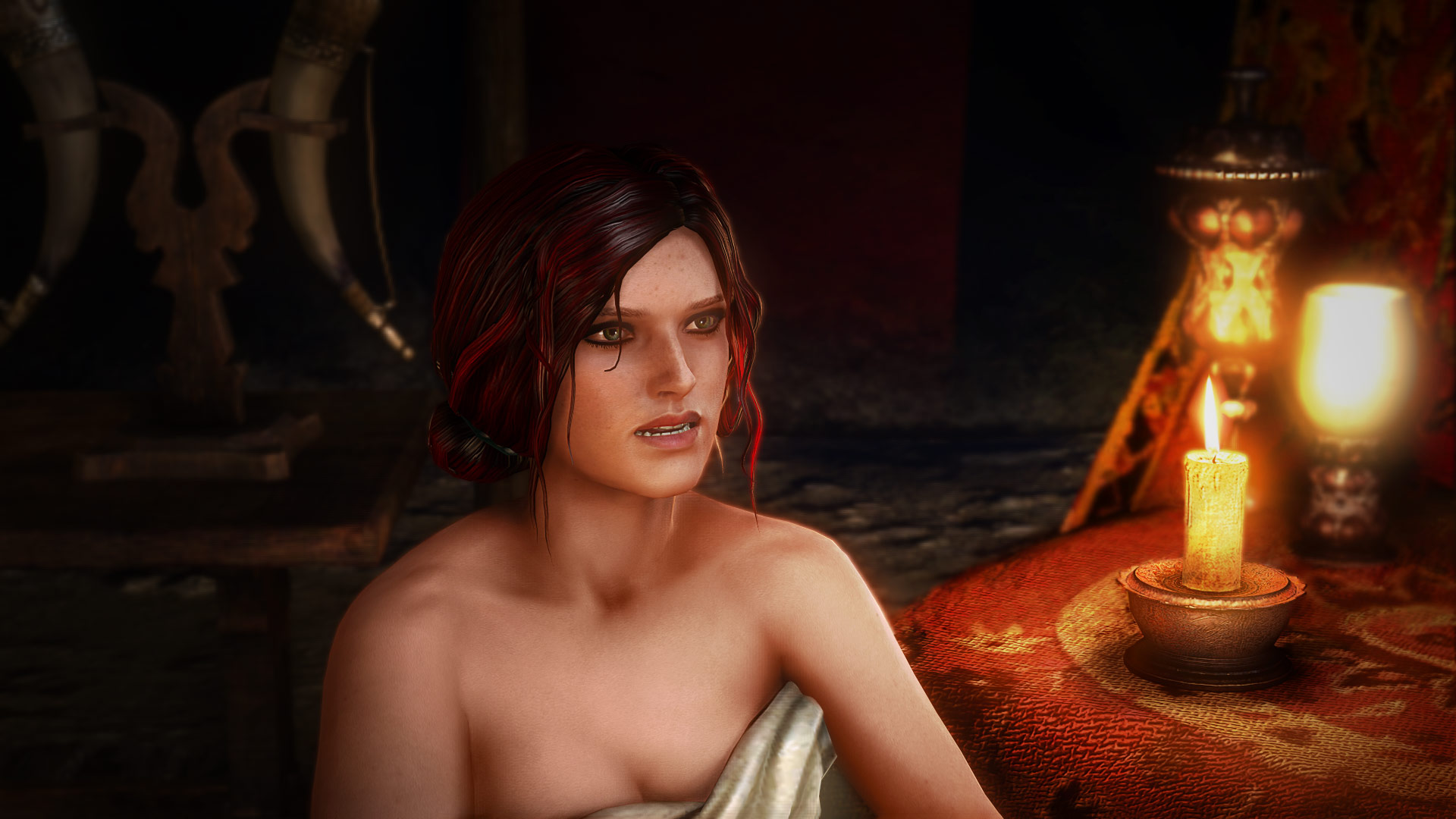 The Witcher 2's  most important female character, Triss, is introduced entirely naked. Geralt, in the same scene, is conveniently given pants.