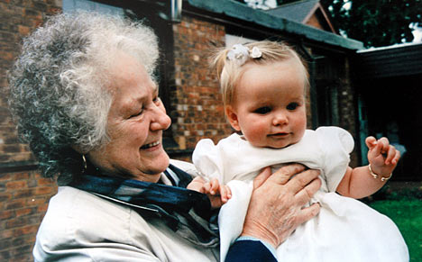 With Grandma. -