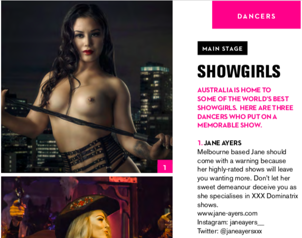 Featured in Penthouse's Little Black Book Edition I