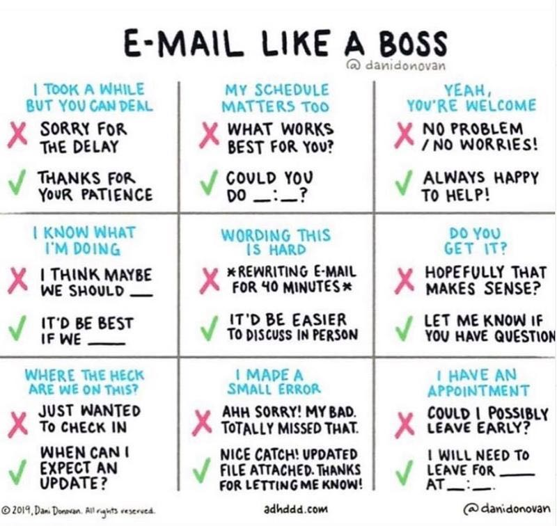 The email cheat sheet I was talking about courtesy Michelle Gleeson