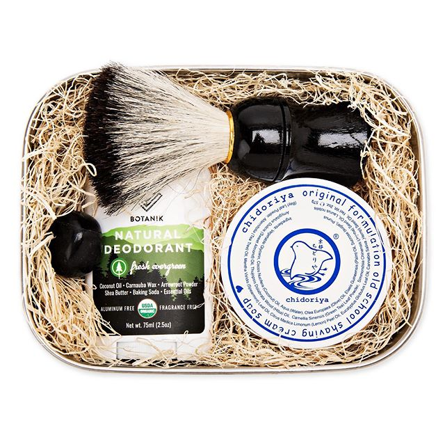new in: a  s e l f - c a r e  box for the gents 🖤 the onyx gift set comes with a non-toxic deodorant, a soothing shaving soap, and a natural bristle shaving brush. just in time for father's day...$77 on itsmari.com