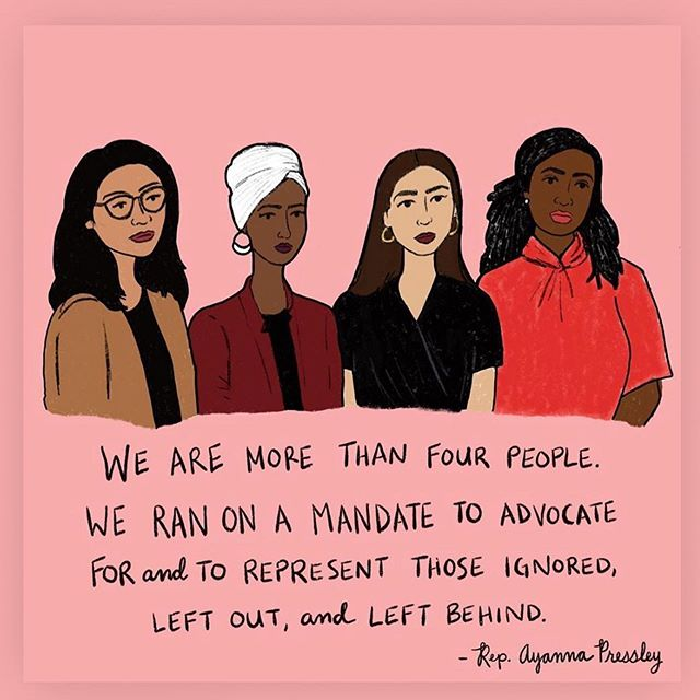 "#Repost @womensmarch ・・・ ""Our squad is big. Our squad includes any person committed to building a more equitable and just world."" - @repayannapressley. Are you a part of the #squad?  Art: @quietcreature"
