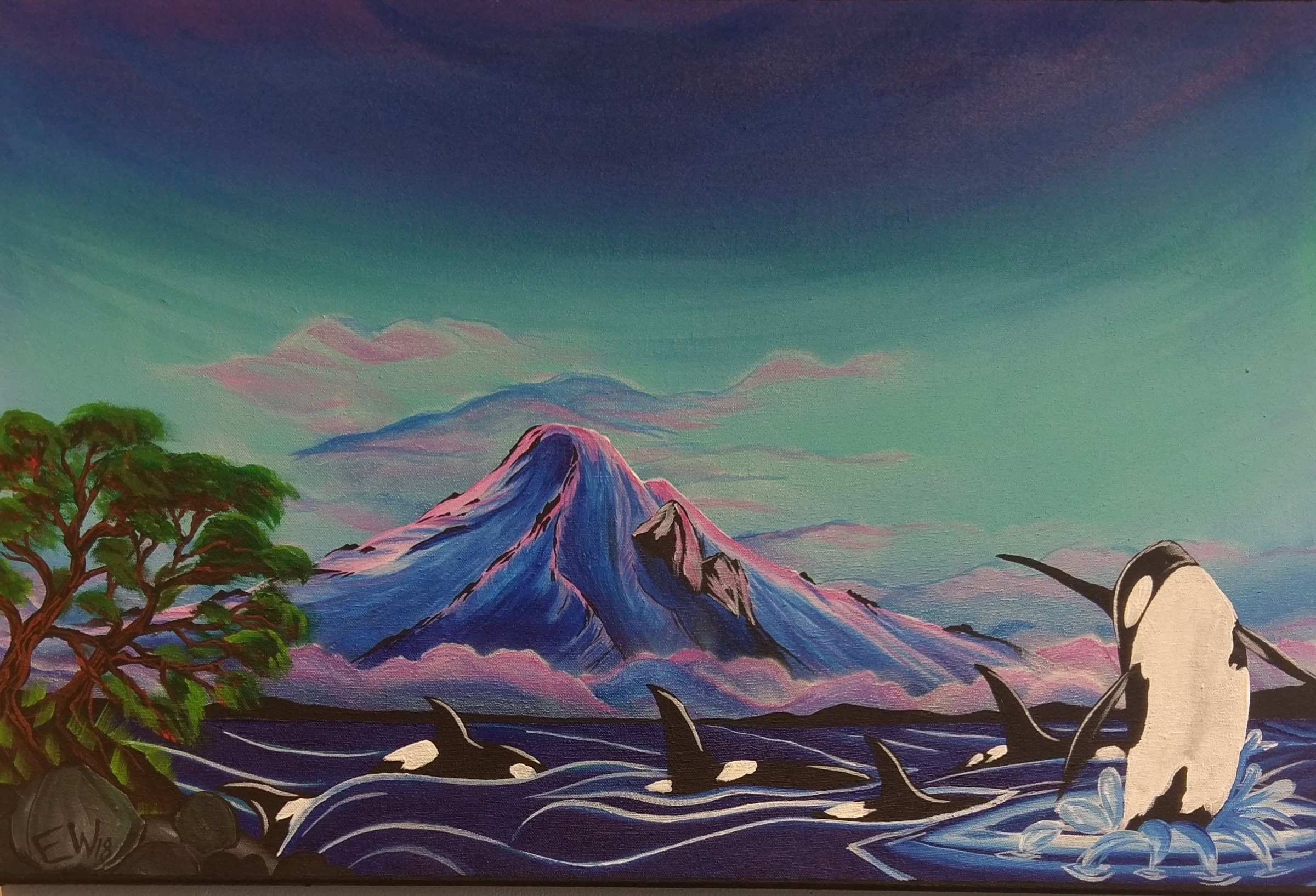 Inspired by an encounter with orcas this summer, Evan says when he doesn't have a camera to take pictures, he paints them.