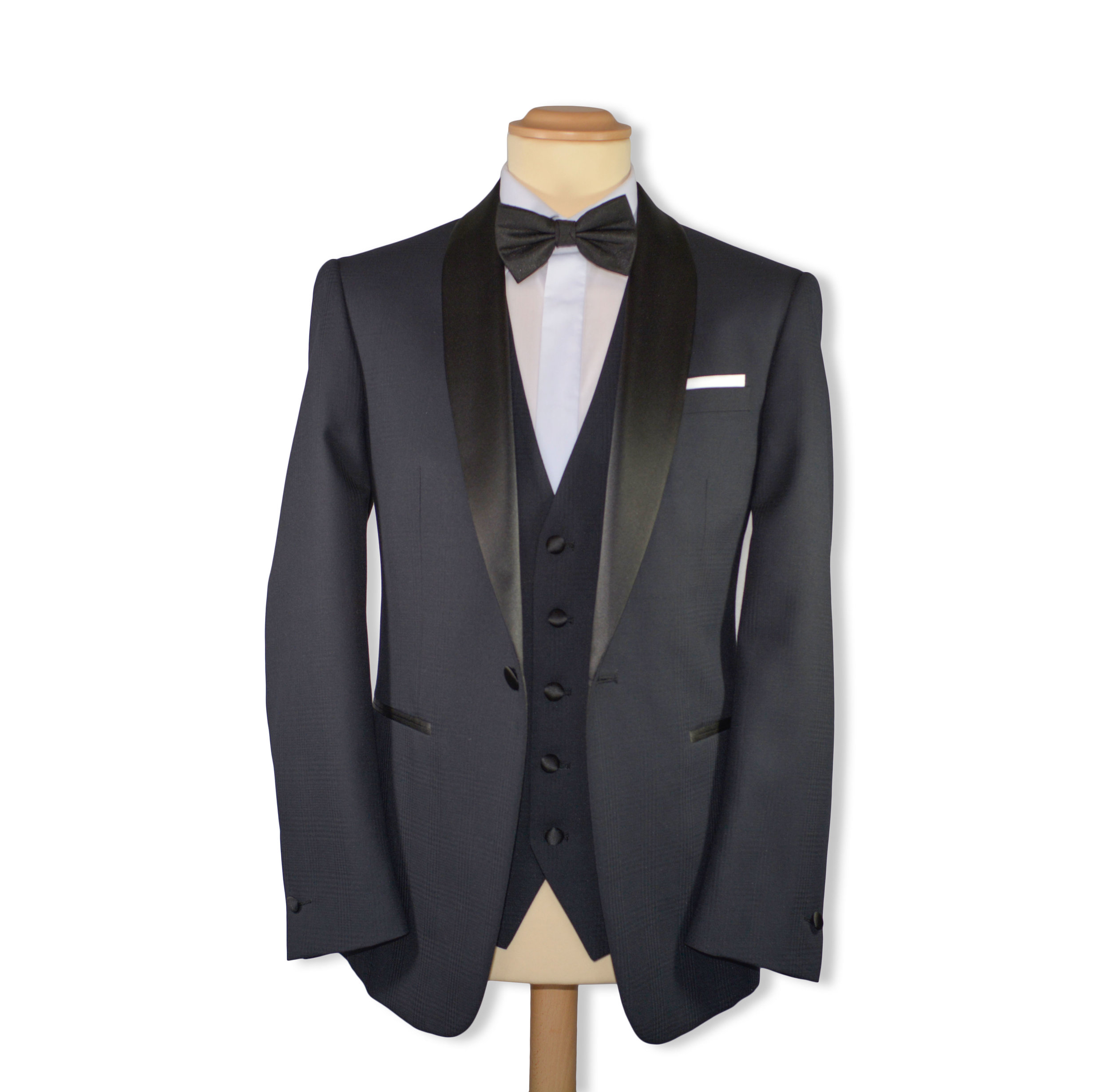 Slim Fit Black Self Check (To Hire or Buy - Also available in Navy)