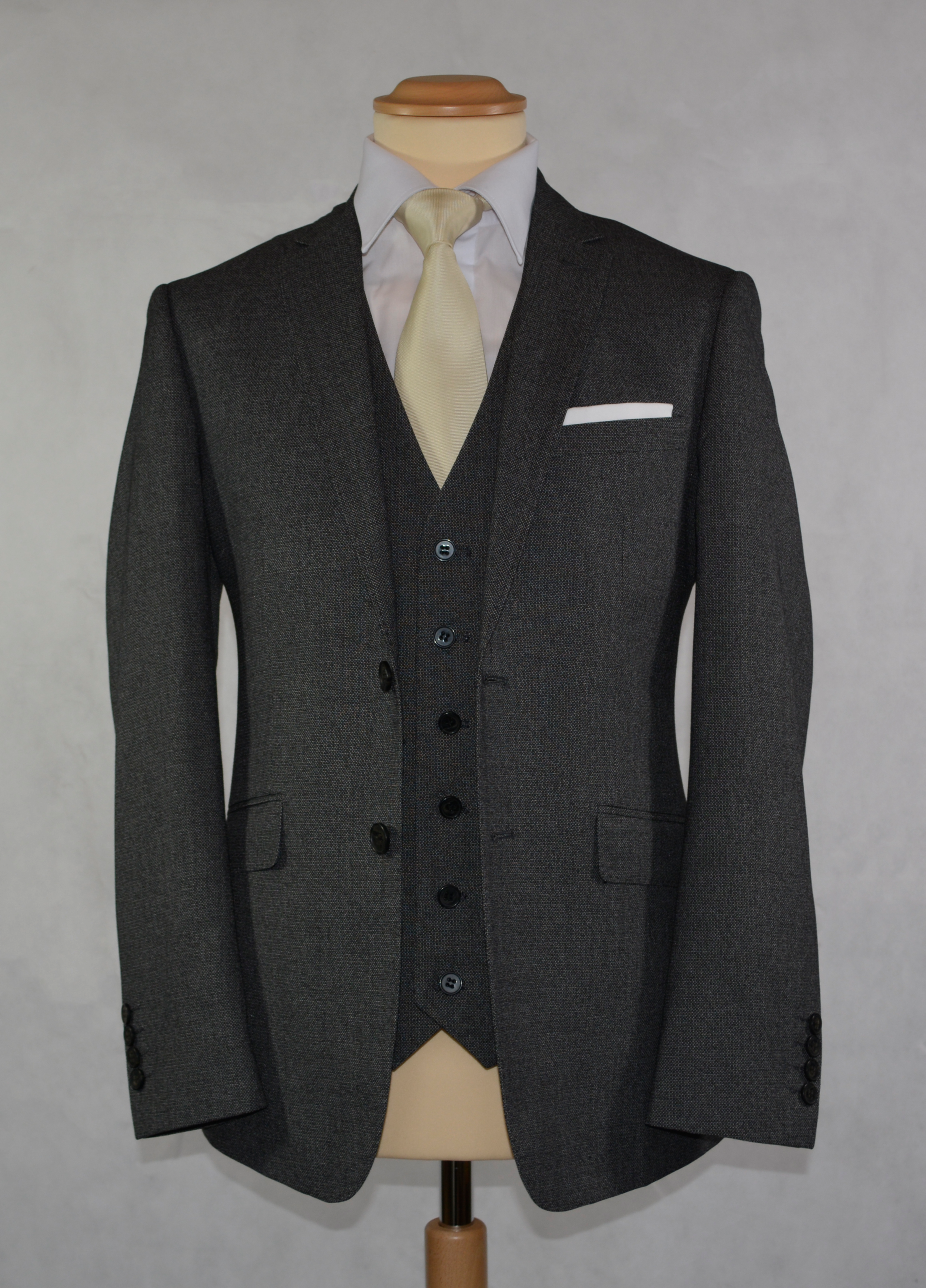 Charcoal Grey Tweed - Available in a scoop or standard Waistcoat (To buy only)