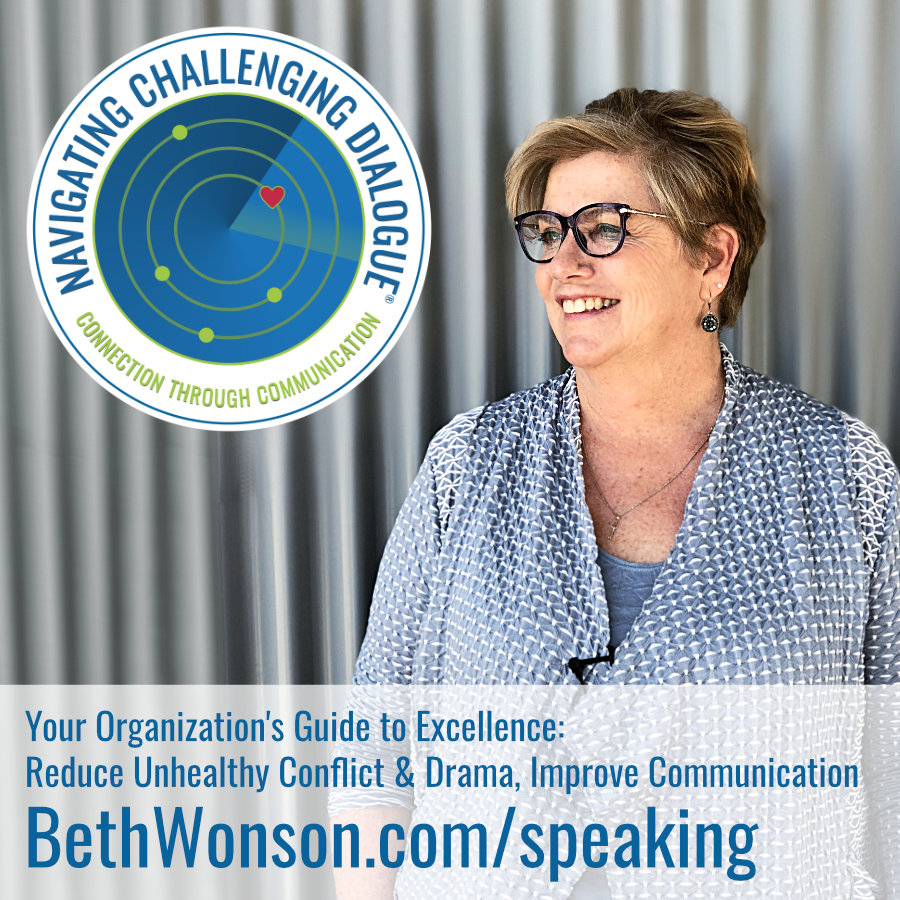 Beth Wonson, Founder of Navigating Challenging Dialogue® is available for Speaking Events