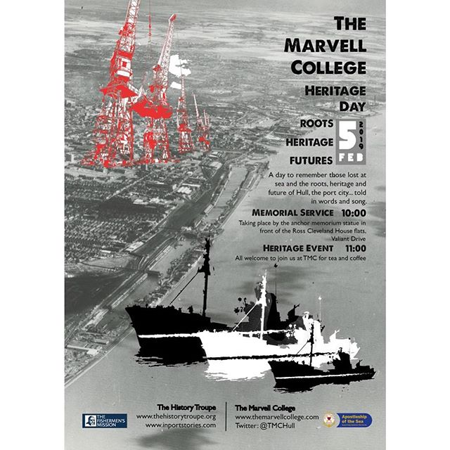 Today, at The Marvell College Heritage Day, we commemorate the three Hull trawlers that went down in the winter of 1968. A total of 58 crew were lost on the St. Romanus, Kingston Peridot and Ross Cleveland. We also extend that remembrance to all men lost on Hull's trawlers and docks over the years, as well as the wives and children that felt that loss the hardest; mourning, but tightly knitting the finishing and docking communities together.  Poems from 'Snow in the Hold' will be read, alongside songs and Shanties from Hull's legend of the sea, Mick McGarry.  We at The History Troupe feel very honoured to be a part of this inaugural remembrance. Photos from the HDM/THT archive.